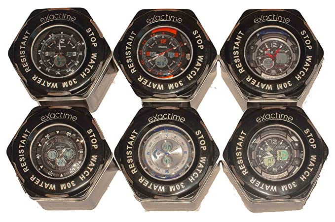 COLECCION EXACTIME - Combo de 6 Relojes Deportivos resistentes al agua Unisex - Análogo/Digital: Amazon.es: Relojes