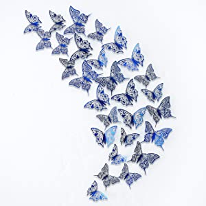 pinkblume Navy Blue Butterfly Wall Stickers 3D Royal Blue Butterflies Decorations DIY Removable Metallic Glitter Paper Wall Decal for Home Living Room Kids Bedroom Showcase Nursery Art Decor (48PCS)