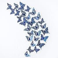 pinkblume Navy Blue Butterfly Wall Stickers 3D Royal Blue Butterflies Decorations DIY Removable Metallic Glitter Paper…