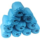 Zicome Disposable Boot Shoe Covers, 100 Pack, Blue, One Size Fits Most