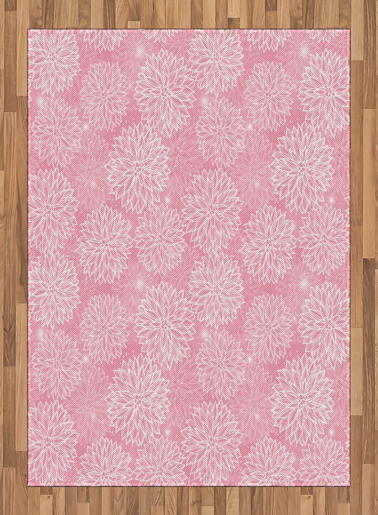 Dahlia Flower Decor Area Rug by Ambesonne, Cute Alluring Forms with Spots on Backdrop Love Valentines Concept, Flat Woven Accent Rug for Living Room Bedroom Dining Room, 5.2 x 7.5 FT, Pink White