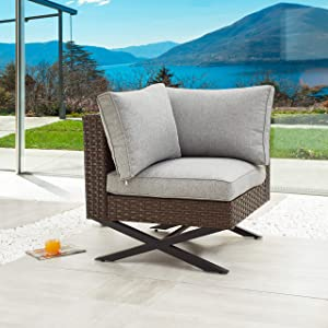 LOKATSE HOME Rattan Corner Sofa X Shape Leg Outdoor Furniture Patio Left-arm Chair with Cushions for Garden, Pool, Backyard, Brown