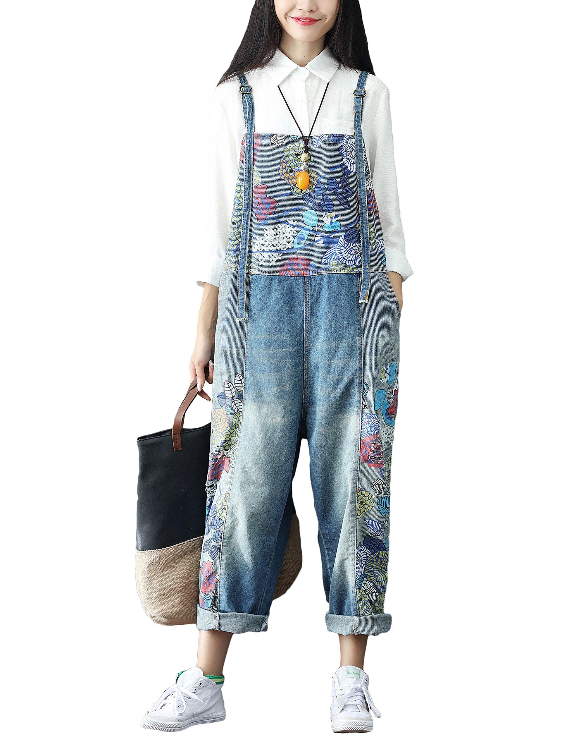 Soojun Women's Fashion Printed Drop Crotch Denim Bib Jumpsuits, 1 Blue