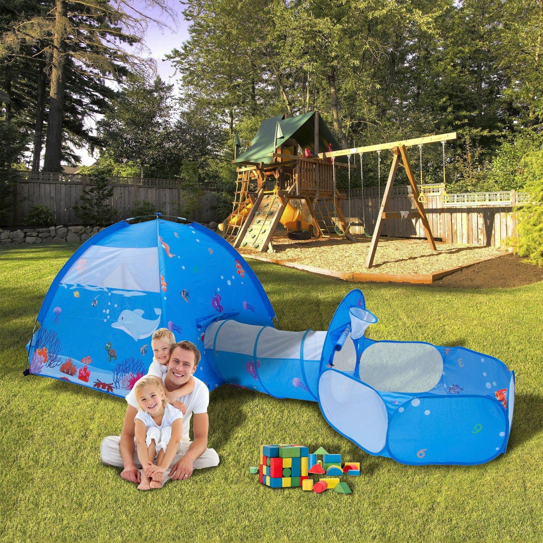 ALPIKA Train Kids Play Tent Pop-up Crawl-Through Tunnel/&Ball Pit.