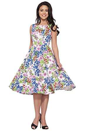 Hearts & Roses of London Country Garden Floral Swing Dress (White Multi, ...