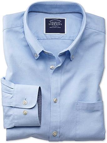 Camisa Oxford Azul Celeste de Tela Lavada y Corte clásico Lisa con Cuello con Botones
