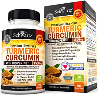 Turmeric Curcumin with Bioperine 1500mg. Highest Potency Available. Premium Pain Relief & Joint Support with 95% Standardized Curcuminoids. Non-GMO