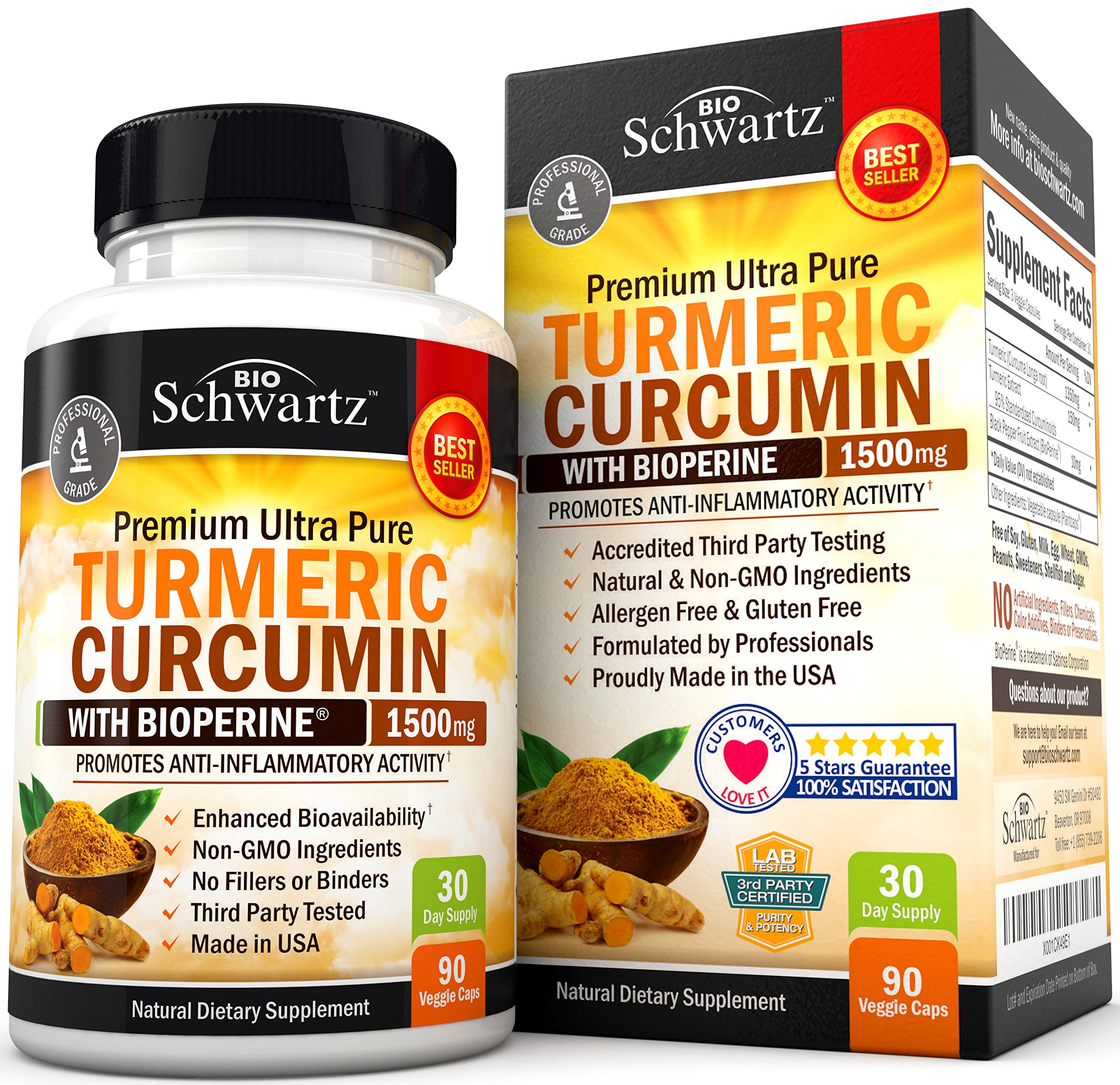 Turmeric Curcumin with Bioperine 1500mg. Highest Potency Available. Premium Pain Relief & Joint Support