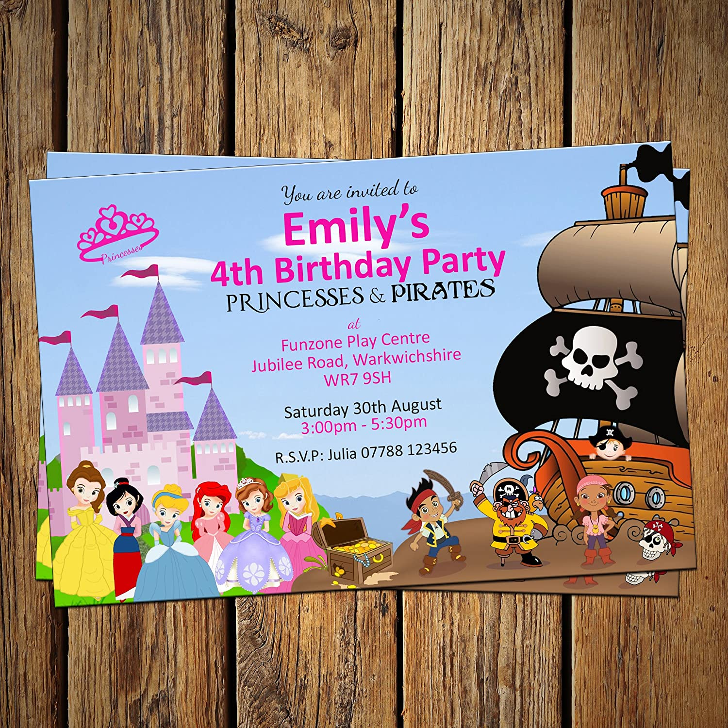 Princess & Pirate Invitations & Envelopes (Pack of 16) Personalised ...