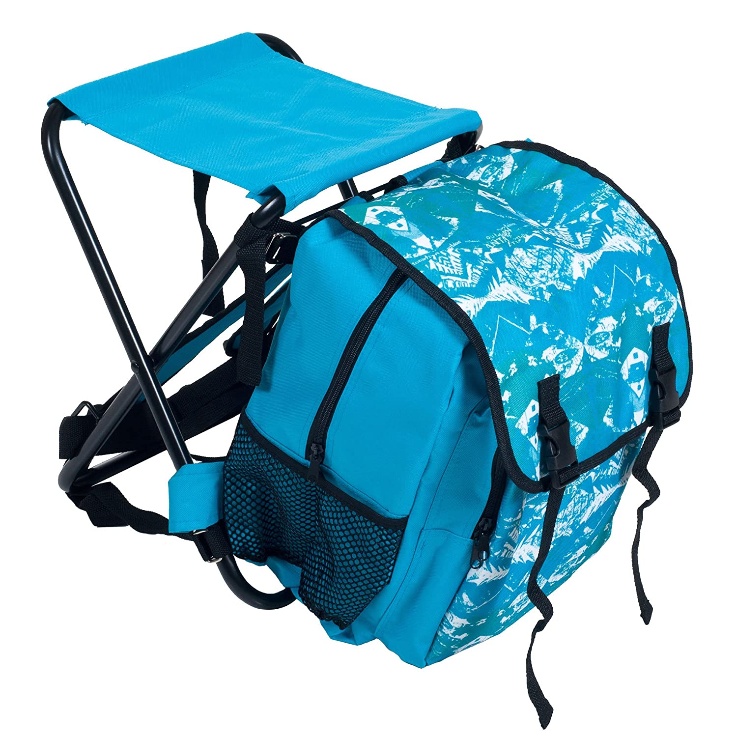 Amazon.com : Stalwart Backpack And Folding Stool Combo, Blue : Sports U0026  Outdoors