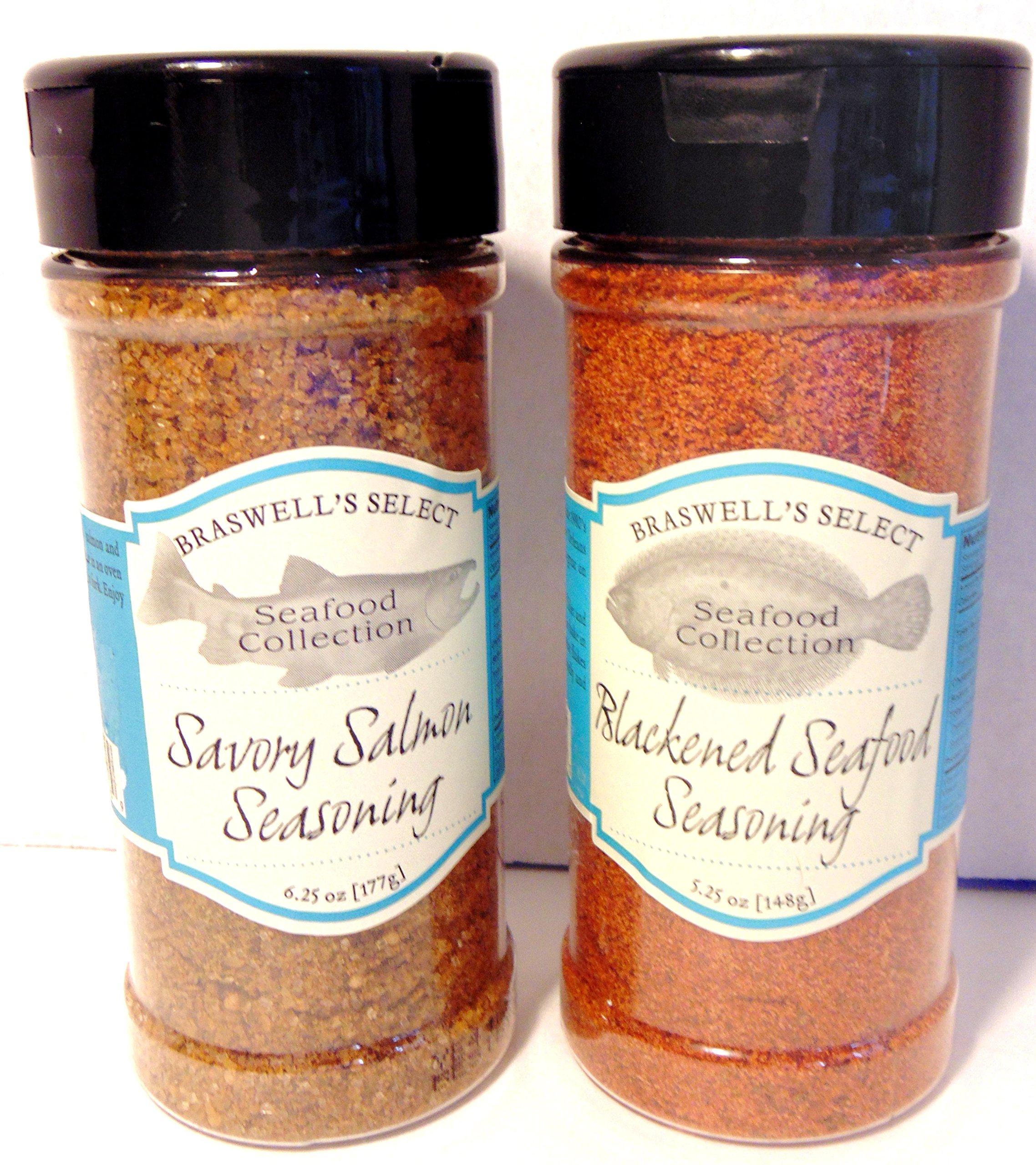 Braswell's Select Seafood Collection Spice (Set of 2) Bundle Includes: Blackend Seafood Seasoning 5.25oz & Savory Salmon Seasoning 6.25oz
