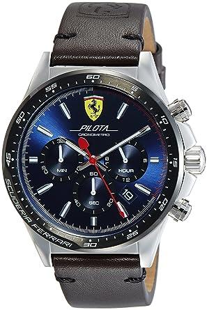 le dernier 94ab1 2b242 Scuderia Ferrari Homme Chronographe Quartz Montres bracelet avec bracelet  en Cuir - 830435