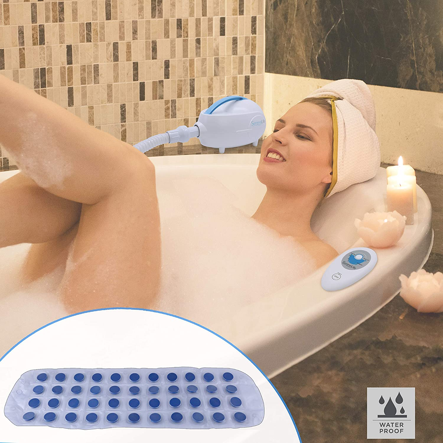 SereneLife Electric Bathtub Bubble Massage Mat Waterproof Tub Massaging Spa Full Body Bubbling Bath Thermal Massager Machine w Heat Motorized Air Pump Aroma Clip for Essential Oi