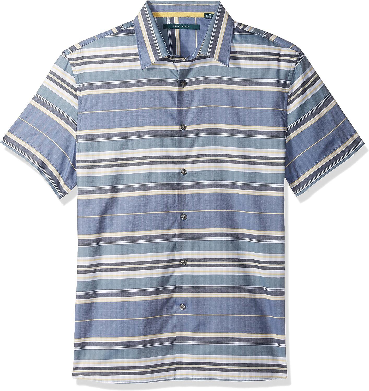 Perry Ellis Short Sleeve Horizontal Multi-Color Stripe Shirt-Mens