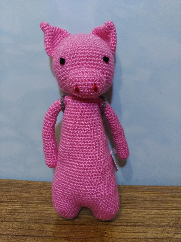 Peluche cerdo amigurumi con mochila hecho a mano a ganchillo: Amazon.es: Handmade