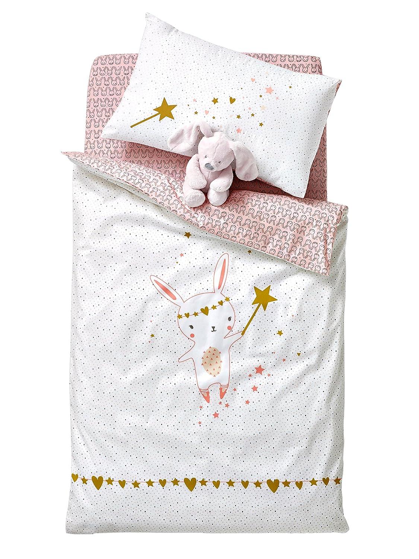 Vertbaudet Baby-Bettbezug, Feenmotiv, Baumwolle, Ecru/Rosé , 80