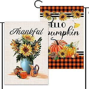 2 Pcs Happy Fall Garden Flags 12x18 Double Sided, Burlap Sunflower Vase And Buffalo Plaid Hello Pumpkin Garden Flags, Original Design Autumn Outdoor Decorations Farmhouse Yard Sign