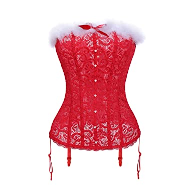 48f31f989f6 Image Unavailable. Image not available for. Colour  MISS MOLY Women s Lace  Christmas Sexy Santa Girls Velvet Bustier Corset Costume ...