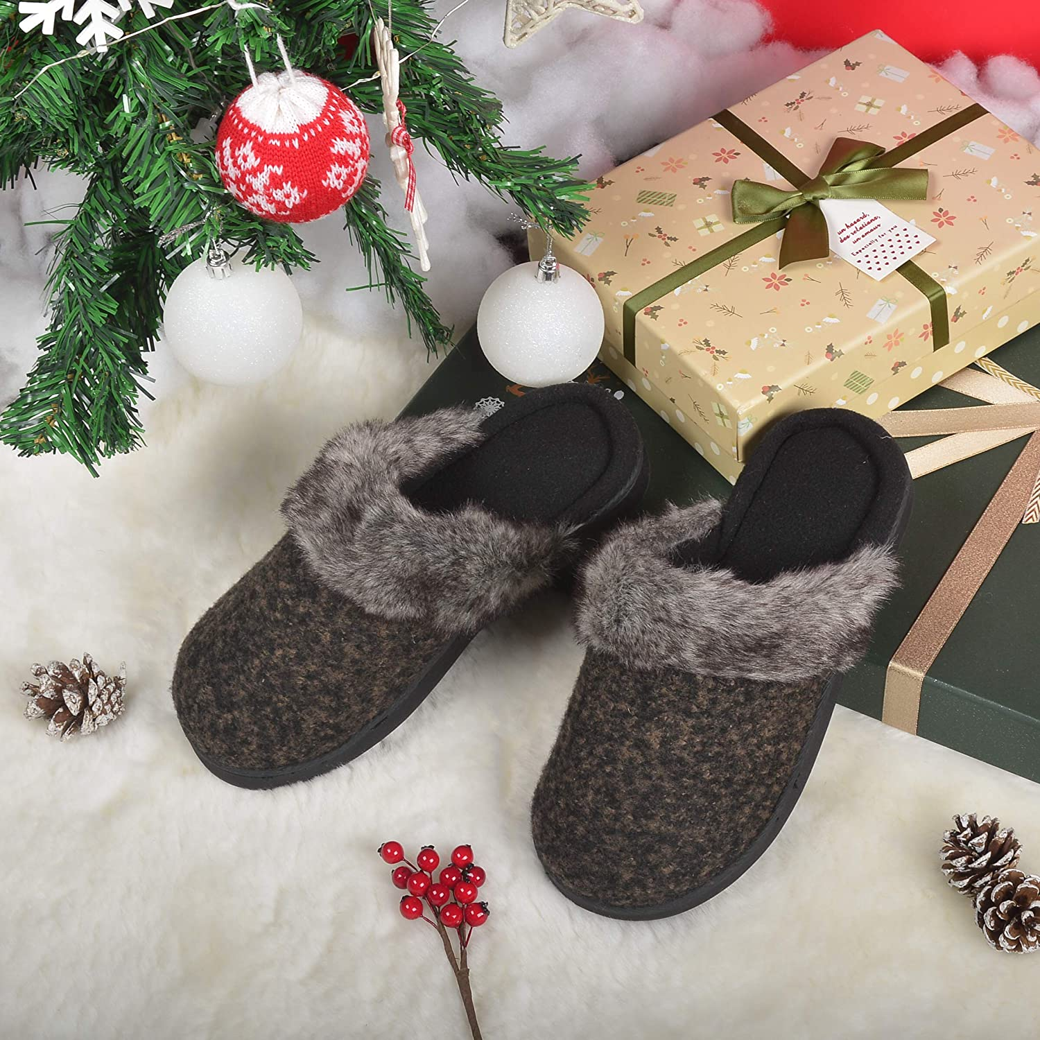 ULTRAIDEAS Womens Comfort Memory Foam Slippers Wool Blend Fuzzy Coral Fleece Lined Slip on House Shoes with Indoor Outdoor Anti-Skid Rubber Sole