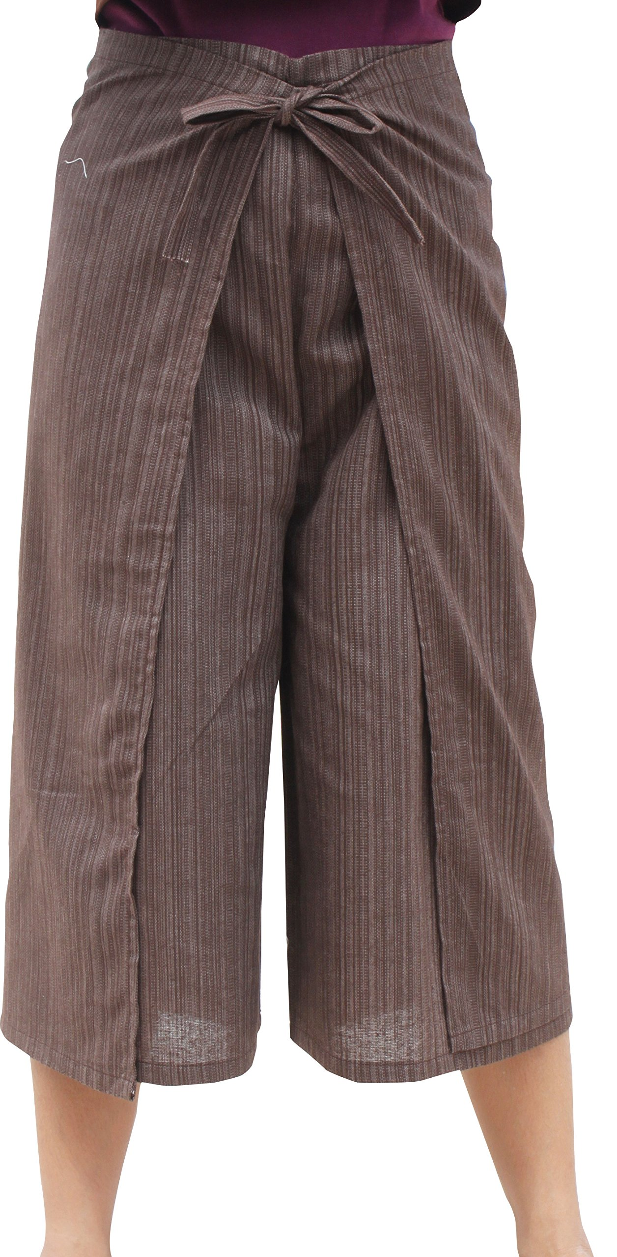 RaanPahMuang Drive In Wrap Pants In Summer Plain Mixed Cotton, Medium, TC Cotton - bistre Brown by RaanPahMuang