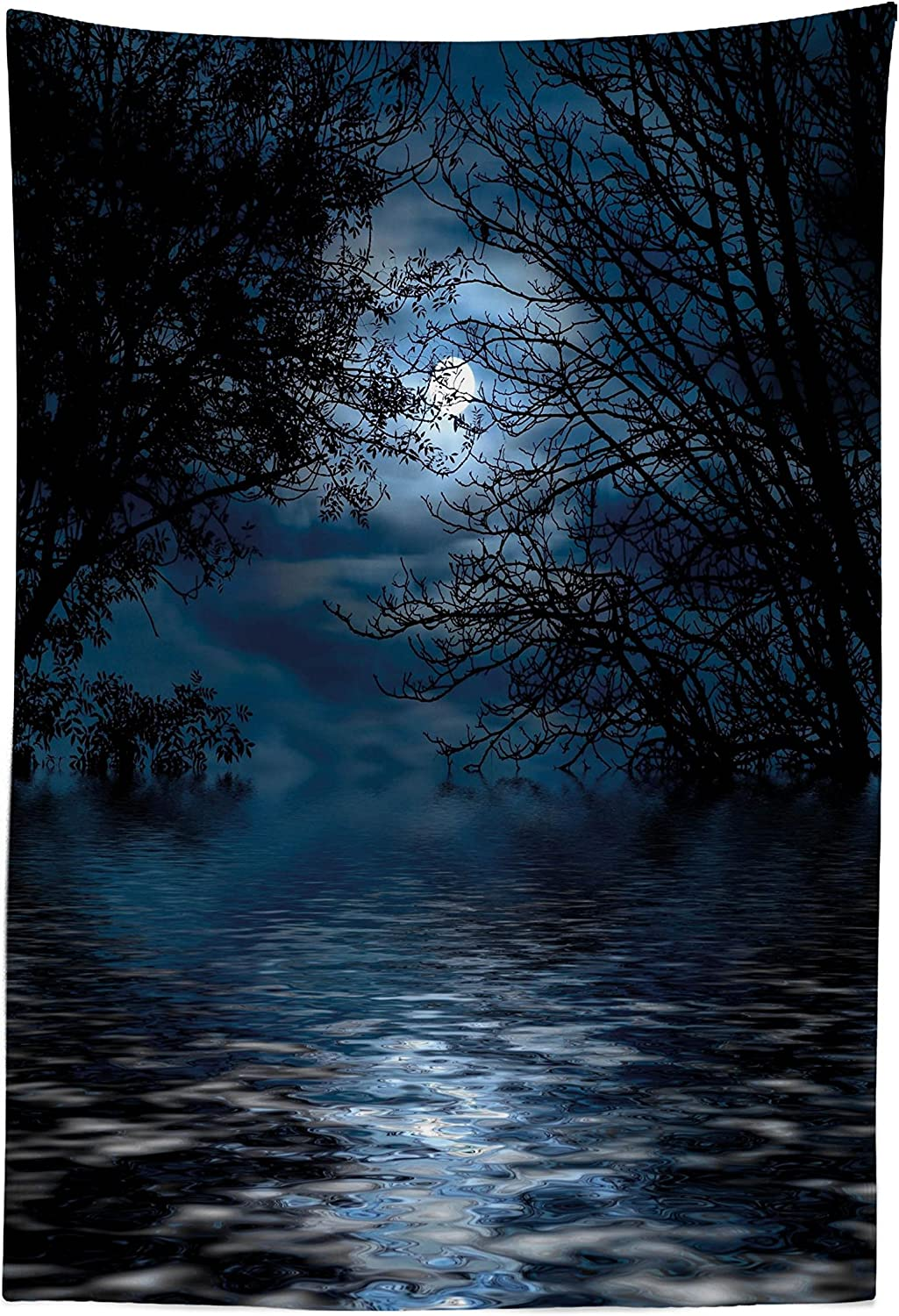 Lunarable Night Sky Tapestry, Witchcraft Spell Ceremony Atmosphere Forest Full Moon Branches Image, Fabric Wall Hanging Decor for Bedroom Living Room Dorm, 30