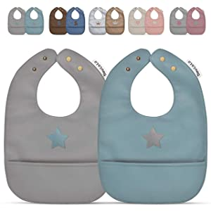 Vegan Leather Water Resistant Baby Bibs with Practical Pocket and Snaps - Set of Super Cute Soft Vegan Leather Bibs - Great for Feeding and Teething Infants Babies and Toddlers 8-24 Months
