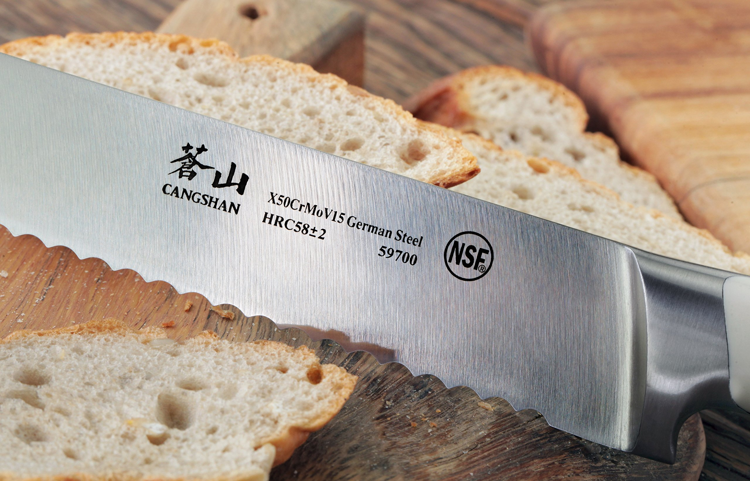 Cangshan S1 Series 59700 German Steel Forged Bread Knife, 8-Inch 5 Patent Pending Design knives that focuses on ergonomics handle with unique creme color Well balanced 5.5-inch handle and 8 blade X50Cr15MoV German Steel with HRC 58 +/- 2 on the Rockwell Hardness Scale