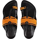 INMATE Best Fit 100% Leather Hand-Crafted Kolhapuri Chappals|Ethnic Footwear Especially Designed for Men in Yellow Colour