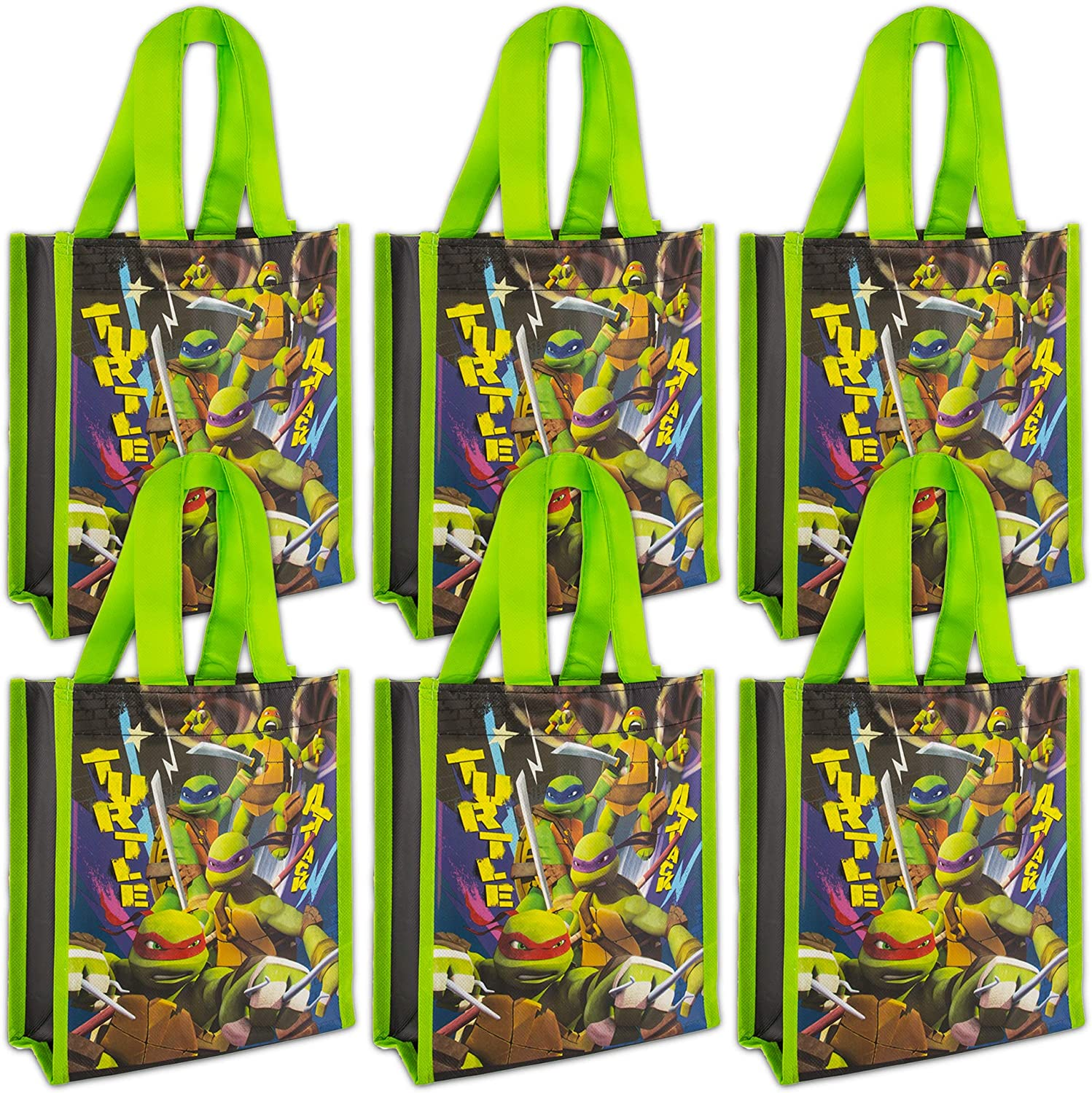 NINJA TURTLES Teenage Mutant Party Bags Mini Reusable Tote Bags ~ 6 Pack of TMNT Party Bags for Gifts, Groceries, Halloween Trick or Treat Bags and More (TMNT Merchandise)