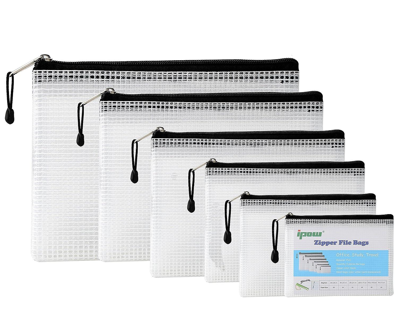 Ipow 6 Pezzi busta multifunzione a maglia con cerniera sacchetti per file multi-dimensione borsa/astuccio di carta a rete porta documento per organizzare forniture, farmaci, cosmetici, documenti importanti, accessori da viaggio