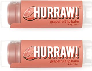 product image for Hurraw! Grapefruit Lip Balm, 2 Pack: Organic, Certified Vegan, Cruelty and Gluten Free. Non-GMO, 100% Natural Ingredients. Bee, Shea, Soy and Palm Free. Made in USA