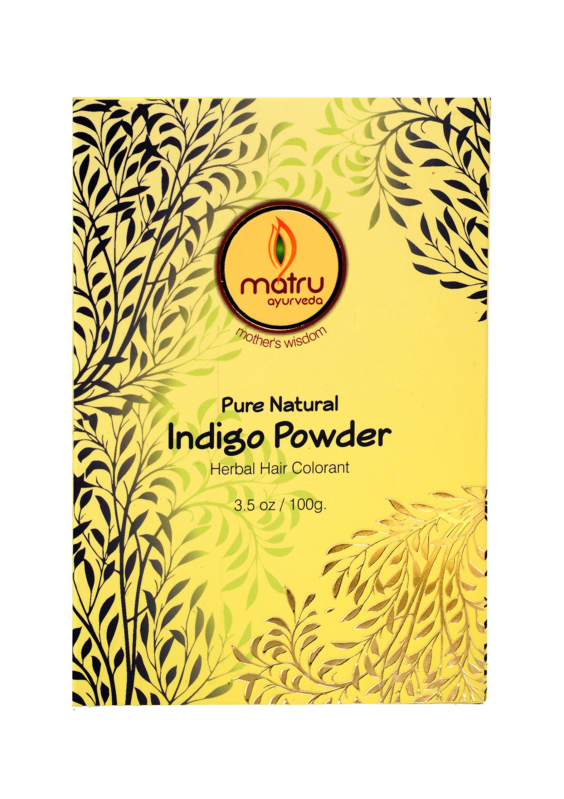 MATRU AYURVEDA Indigo Leaves powder Hair/Bearde, Color; 100% Pure Natural and Chemical Free Bestseller Hair and Beard Color/Dye, 100gms/3.5 oz, Ayurvedic/Herbal hair color