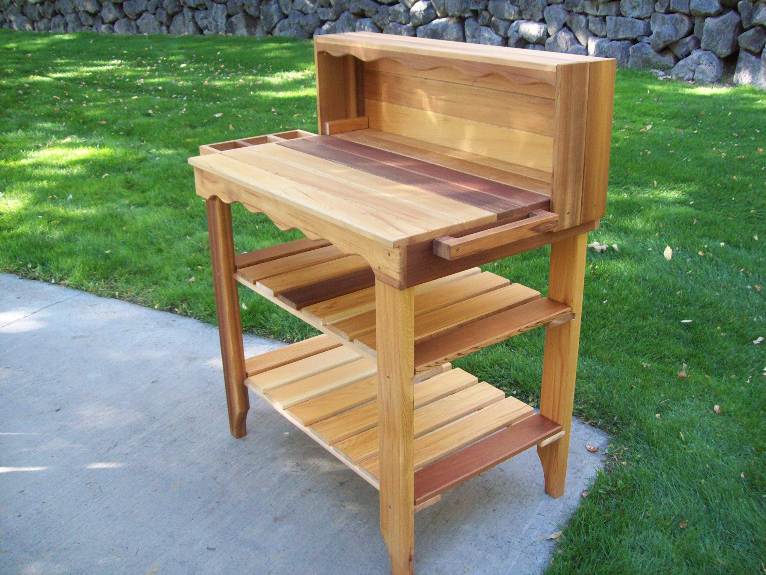 Wood Country Deluxe Potting Bench, Cedar Stain by Wood Country