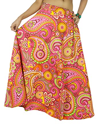 7c6a3f09208da6 Swara Coton Femmes Longue Imprimé Rose Vêtements De Plage Usure Jupe ...