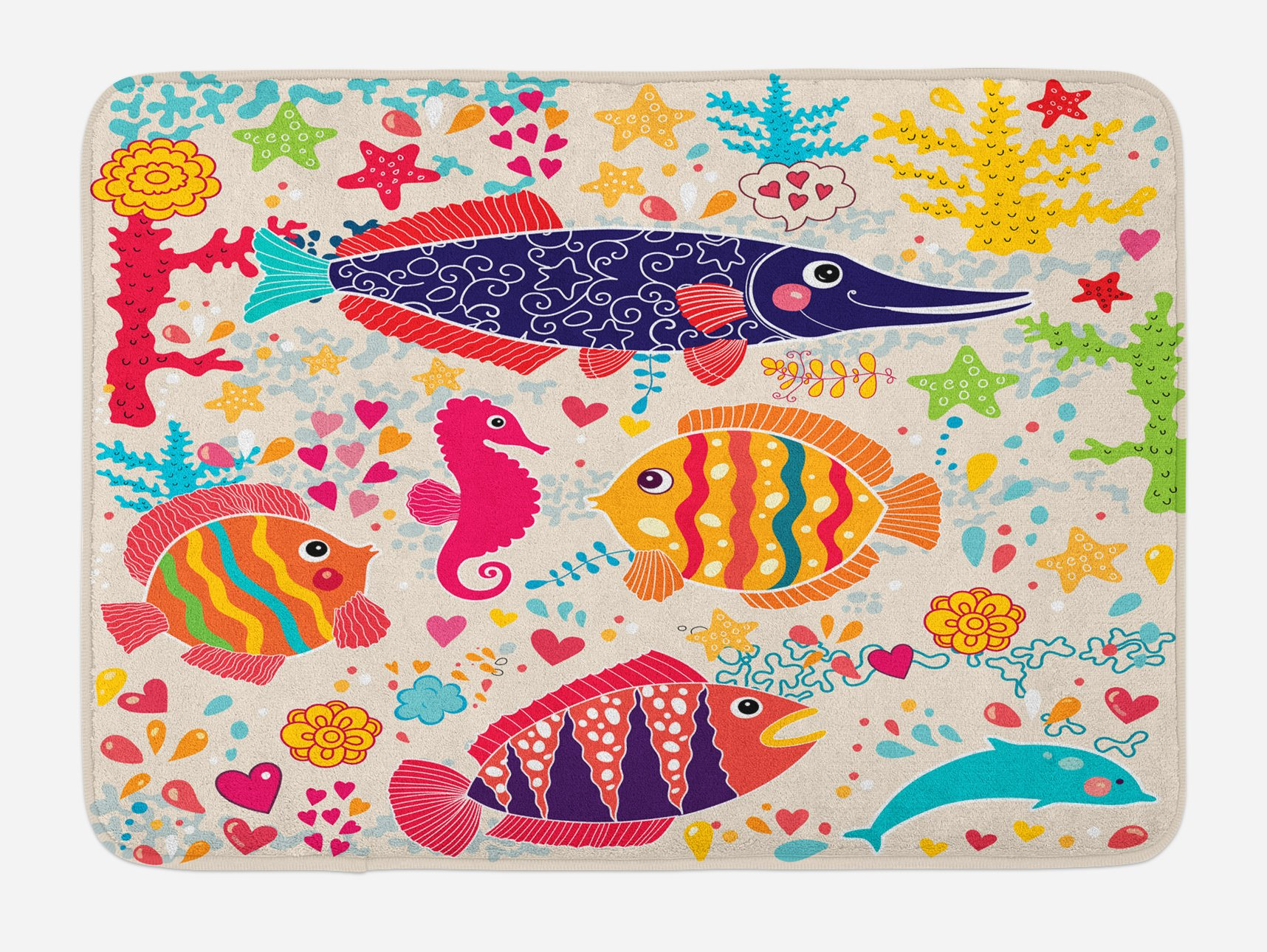 Ambesonne Sea Animals Bath Mat, Cartoon Art with Fish Seahorse Starfish Dolphin Coral Underwater Life Kids, Plush Bathroom Decor Mat with Non Slip Backing, 29.5 W X 17.5 W Inches, Multicolor