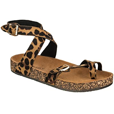 CLOVERLY Women's Sandals Slip On Ankle Wrap Cork Sole Footbed Platform Slide Sandal with Buckle   Flats