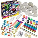 Glow In The Dark Rock Painting Arts and Craft Kit for Kids – Supplies For Painting Rocks - 20 Regular & Resin Rocks, Acrylic