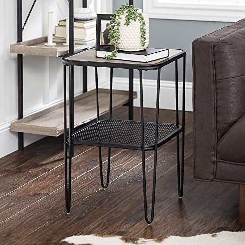 Walker Edison AZF16LOSTGW Mid Century Hairpin Metal Frame Square Modern Side Accent Living Room Storage Small End Table