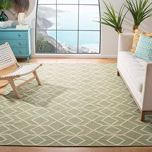 Safavieh Dhurries Collection DHU560B Hand Woven Sage and Ivory Premium Wool Area Rug 6 x 9