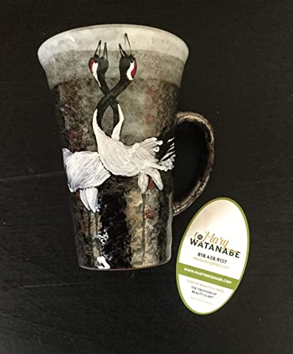 Amazon Large Love Cranes Mug Hand Painted Japanese Textured Tea