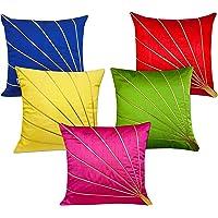 CIDIZY Set of 5 Decorative Designer Multicolour Golden Striped Dupion Silk Cushion Covers 16 x 16 inches
