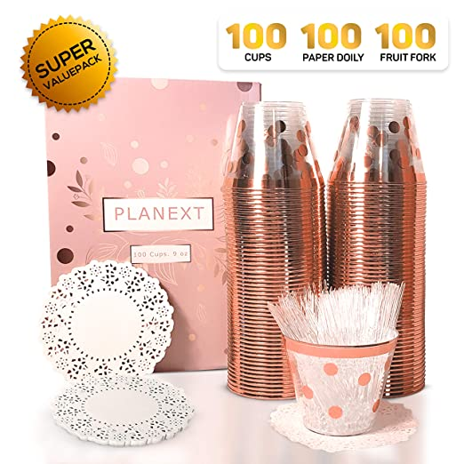 Amazon.com: Vasos de plástico de oro rosa (100 unidades ...