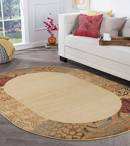 Sedona Transitional Floral Beige Oval Area Rug, 5 x 7 Oval