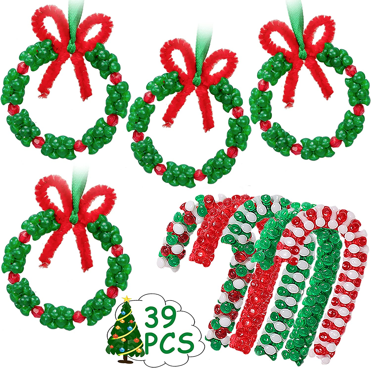 Christmas Beaded Ornament Kit - Xmas Party Craft Wreath Candy Cane Holiday Tree Decorations Kids Supplies, 39 Pieces