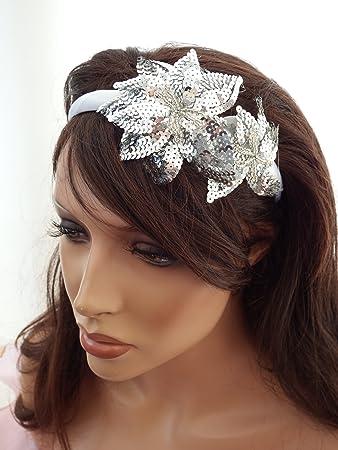 20 s Style Silver Sequin Fascinator Hair band headband Alice Band White  Satin hair band  Amazon.co.uk  Health   Personal Care 90dedc82334