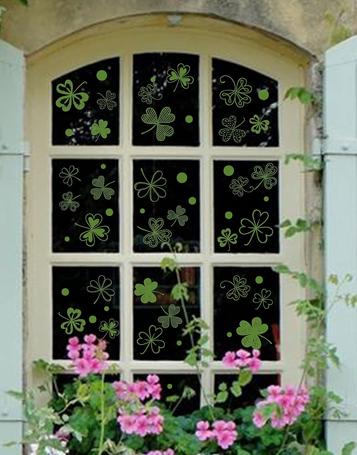 102 PCS St Patrick's Day Decorations Shamrock Window Clings Clover Static Decal Stickers -- Party Ornaments Moon Boat MB-SPTWC310