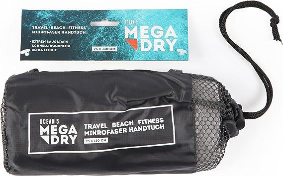 Ocean5 Mikrofaser Handtuch Mega Dry Ultra Schnelltrocknendes Reisehandtuch 75 X 130 Cm Mit Praktischer Netz Tasche Saugstarkes Badetuch Fitness Handtuch Farbe Grau Sport Freizeit