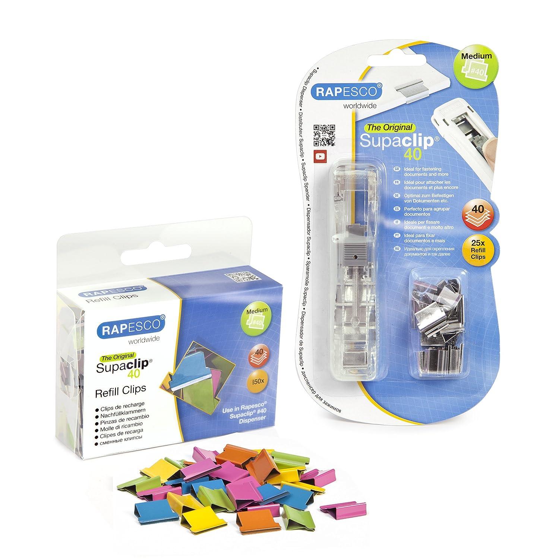 Rapesco supaclip - Dispensador de supaclips mas caja de 150 clips multicolores, hasta 40 hojas: Amazon.es: Oficina y papelería