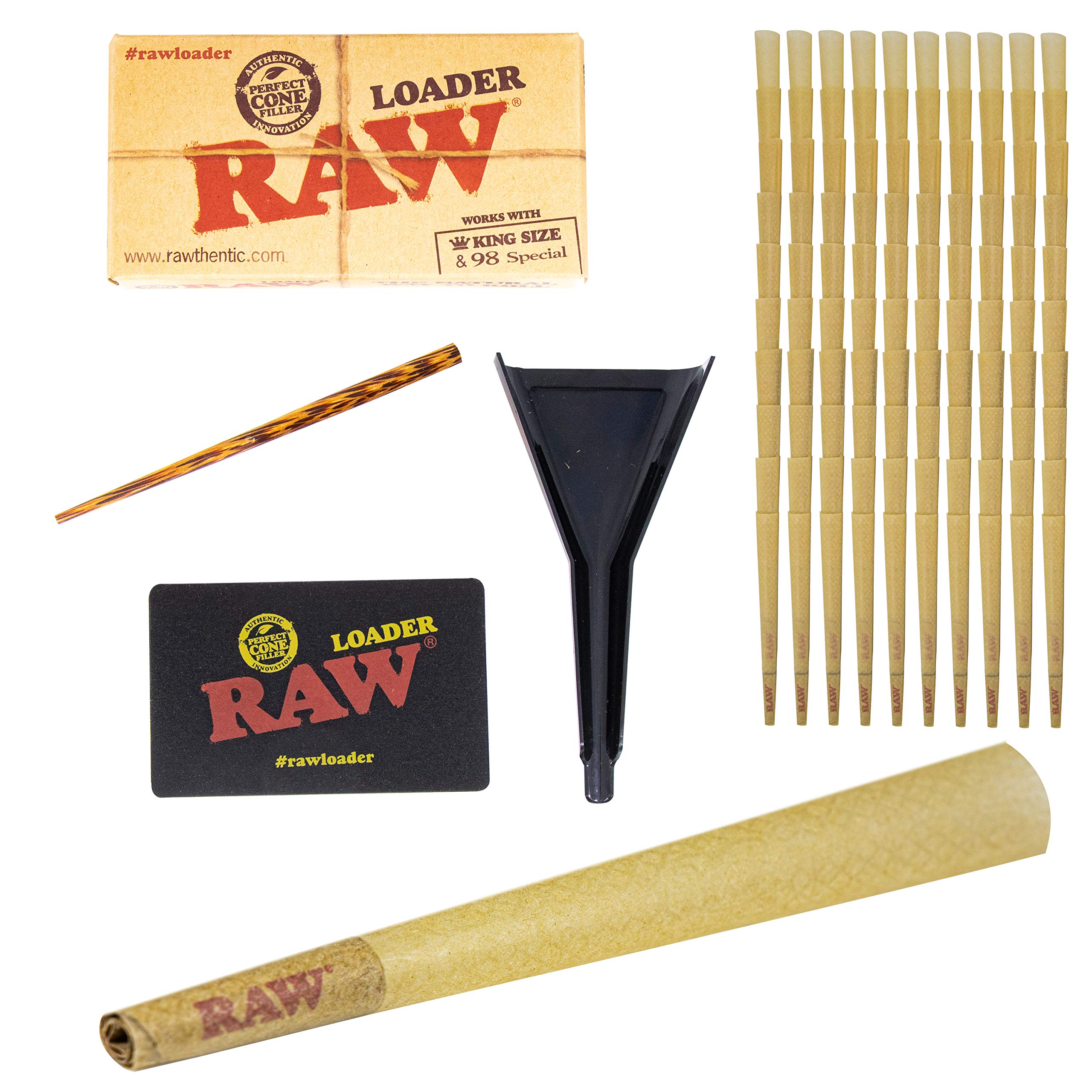 100 RAW Cones Classic King Size, with RAW Cone Loader, Pre-Rolled RAW Rolling Papers with Tips by Upper Midland Products