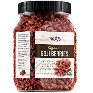 Roots Circle USDA Organic Dried Goji Berries   Bulk Supply of Goji Berry Fruit Superfood   Naturally Rich in Antioxidants to Support Healthy Skin   Raw, Natural, Vegan, Non-GMO, Kosher   14.1oz Jar